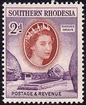 1953 stamp with the portrait of Queen Elizabeth II SouthernRhodesia2d1953scott83rhodesgrave.jpg