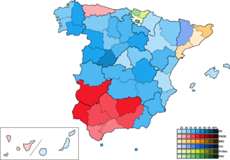 Spain (European Parliament constituency) - Image: Spain Province Map European 2014