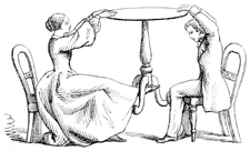 Sketch showing a medium making a table float by lifting it with her foot; unfortunately a spectator has ducked under the edge and is able to see this action.