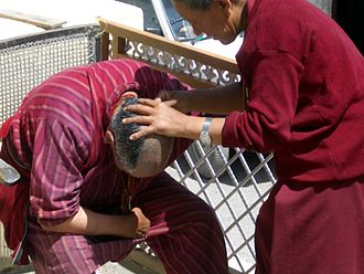 Bhikkhunī - Head shaving before a Tibetan Buddhist nun's ordination. Spiti, India 2004