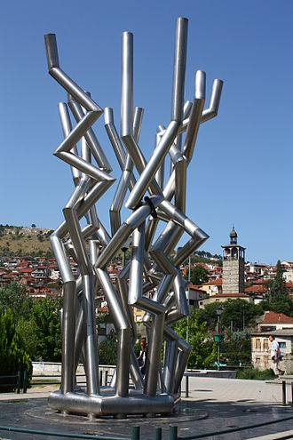 Boatmen of Thessaloniki - Abstract monument representing the Gemidzhii, in the centre of Veles, Macedonia