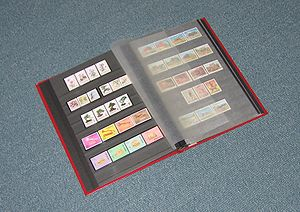 Hobby - A stamp album used in stamp collecting.