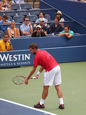 Stan Wawrinka - Wawrinka about to serve at the 2013 US Open.