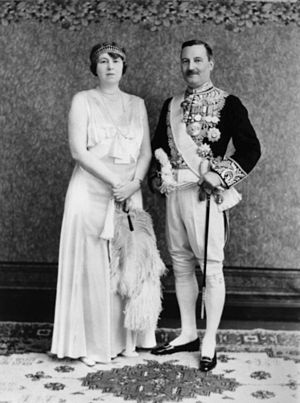 Leslie Orme Wilson - Sir Leslie and Lady Wilson, Queensland c.1933; he is wearing the full dress uniform of a member of HM Privy Council.