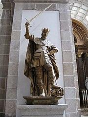 Fruela I en el Monasterio de San Julián de Samos en Galicia