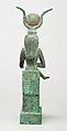 Statuette of Isis nursing Horus (missing above the legs), inscribed for Hor son of Padihorresnet MET 45.4.3 back.jpg