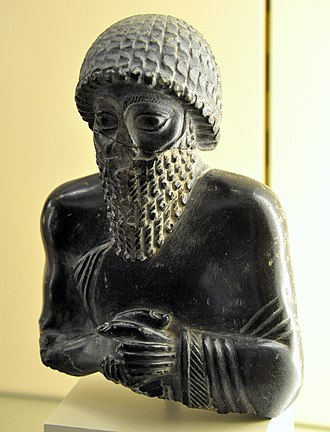 Ningishzida - Statuette of Ur-Ningirsu, dedicated to god Ningishzida (Ningizzida), c. 2117 BC, from Southern Mesopotamia, Iraq