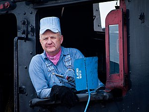 Seersucker -  Steam locomotive driver wearing Seersucker overalls and cap