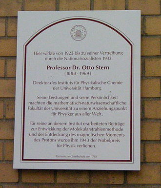 Otto Stern - Plaque on the wall of what are now the physics institutes of Hamburg University, commemorating Stern's tenure