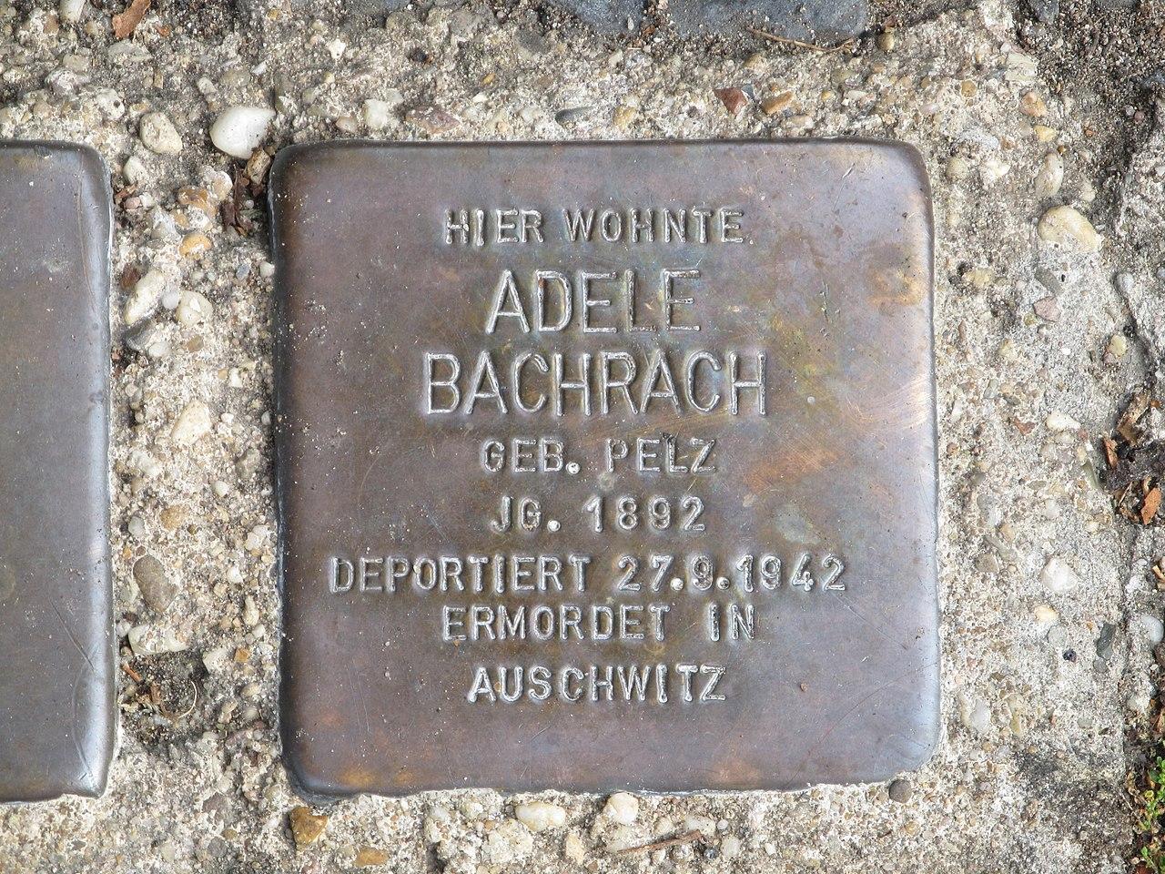 Stolperstein Adele Bachrach, 1, Wilhelm-Leuschner-Straße 47, Darmstadt.jpg