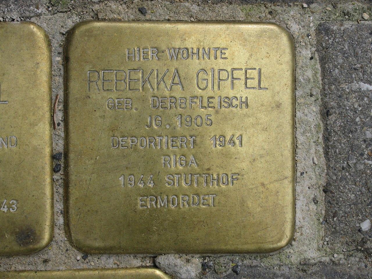 Stolperstein Rebekka Gipfel, 1, Untere Königsstraße 86, Wesertor, Kassel.jpg