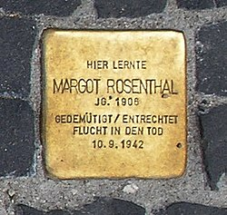 Photo of Margot Ruth Rosenthal brass plaque