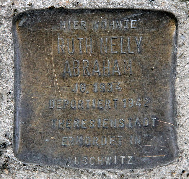 Photo of Ruth Nelly Abraham brass plaque