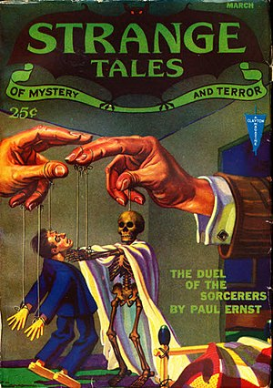 "Paul Ernst (American writer) - Ernst's novella ""The Duel of the Sorcerers"" took the cover of the March 1932 issue of Strange Tales"