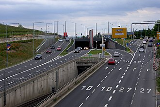 Bundesstraße - Four-lane B 10 and B 27 interlaced in the city of Stuttgart