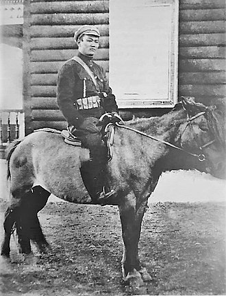 Damdin Sükhbaatar - Sükhbaatar on horseback