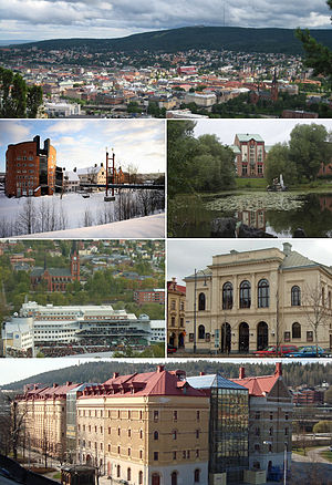Sundsvall - Top:Panorama view of downtown Sundsvall, Stenstaden and South Stadsberget, 2nd left:Mid Sweden University (Mittuniversitetet), 2nd right:Court of Appeal for Lower Norrland in Bunsouska Pond, 3rd left:North Gate Arena and Gustav Adolf Church, 3rd right:Sundsvall Theater, Bottom:Kulturmagasinet, Sundsvall Museum and Library