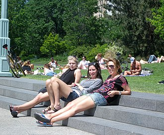 Hudson River Park - Three patrons sunning in the park