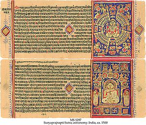 History of education in the Indian subcontinent - Jain astronomical work Surya Prajnapti Sutra on paper, Western India, ca. 1500, in Devanagari script.