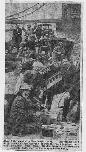 Radio City (pirate radio station) - Sutch (foreground), allegedly broadcasting from a ship. 2nd row (left to right): Geoff Mew, Colin Dale, Brian Paull