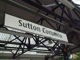 Sutton Common railway station - Image: Sutton Common stn signage