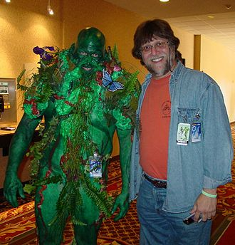 "CONvergence - The late Bob ""Roadkill"" Aiken dressed as Swamp Thing, with creator Len Wein, at CONvergence 2005"