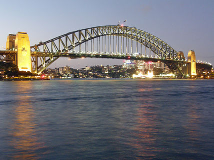 Sydney Harbour Bridge in the evening from Circular Quay