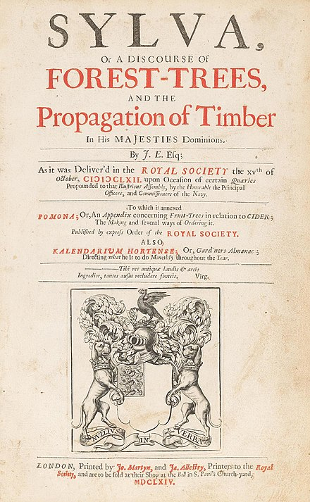 Sylva, or A Discourse of Forest-Trees and the Propagation of Timber in His Majesty's Dominions, title page of the first edition (1664).
