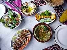 Syrian cuisine wikipedia a syrian meal with makdus at the bottom left corner continuing clockwise are syrian salad hummus haloumi and baba ganouj with pita bread partially forumfinder Choice Image