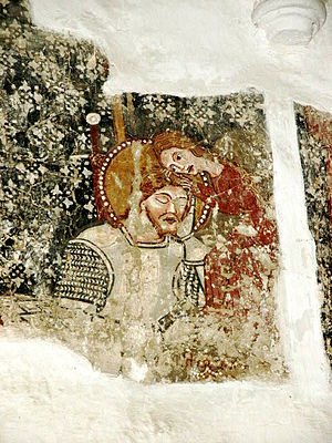 Dârjiu fortified church - Fresco depicting Saint Ladislaus resting in the arms of a maiden