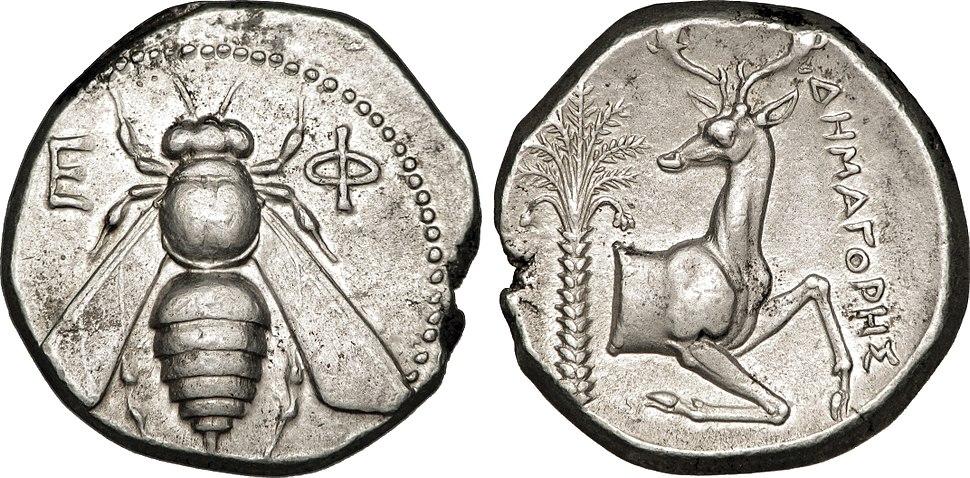Tétradrachme en argent représentant une abeille et un cerf