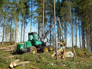 Cut-to-length logging mechanized harvesting system in which trees are delimbed and cut to length
