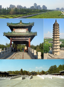 Clockwise from top: Downtown Taiyuan, The east pagoda in Twin Pagoda Temple, Jinci Temple, Longtan Park.