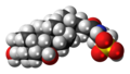 Tauroursodeoxycholic acid molecule spacefill.png