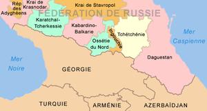 Carte des républiques et des kraïs du caucase du nord russe