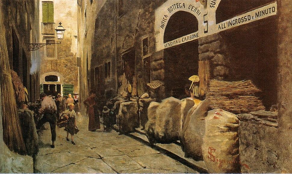 Telemaco Signorini, La Via del fuoco, 1881 circa 38,8x65cm