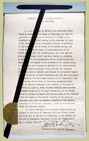 Article Five of the United States Constitution - Tennessee certificate of ratification of the nineteenth Amendment; with this ratification, the amendment became valid as a part of the Constitution