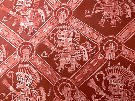 Mural from Atetelco, Teotihuacan depicting coyote warriors Teotihuacan - Palacio de Atetelco Wandmalerei 3.jpg