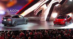 Tesla Model 3 - Tesla Model X (left) and Model 3 (right) at the unveiling event  on March 31, 2016.