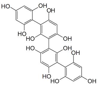 Phlorotannin - Chemical structure of tetrafucol A, a fucol-type phlorotannin found in the brown alga Ascophyllum nodosum.