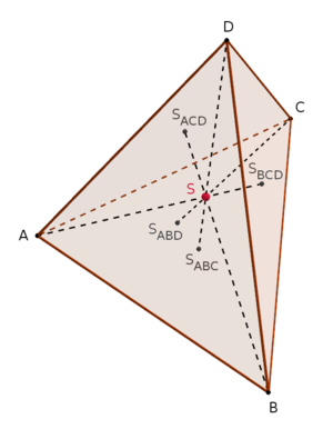 Median (geometry) - Image: Tetrahedron centroid gimp