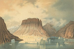 """German North Polar Expedition - The Teufelschloss Mountain (""""Devil's Castle"""") in Kaiser Franz Joseph Fjord; painting by unknown artist after drawings and descriptions made by members of the Second German North Polar expedition"""