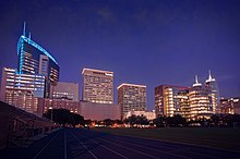 The Texas Medical Center, a cluster of contemporary skyscrapers, at night