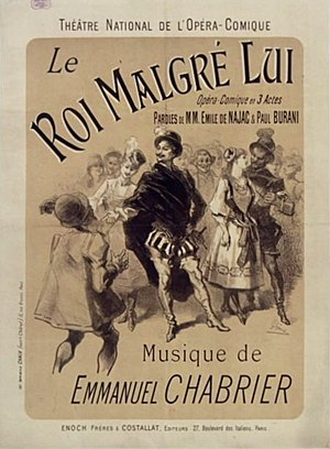 Le roi malgré lui - Poster for the premiere by Jules Chéret