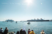 Queen Mary And 2 Meeting In Long Beach California Under The Words Hail To Queens Formed By Skywriting