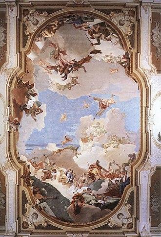 Villa Pisani, Stra - Image: The Apotheosis of the Pisani Family G B Tiepolo