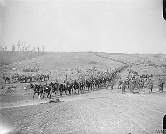 2nd Dragoon Guards (Queen's Bays) - Troops of the 2nd Dragoon Guards (Queen's Bays) on the march approaching Hardecourt Wood, 18 September 1916.