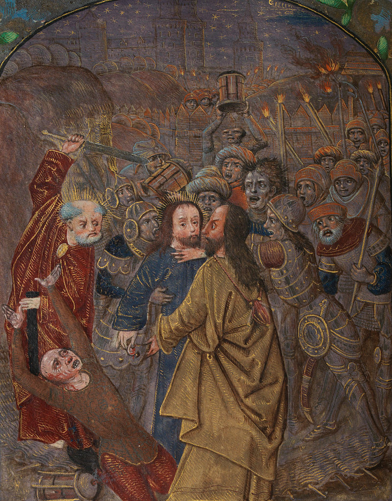 File:The Betrayal Peter raises his sword; Judas hangs ...