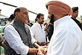 The Chief Minister of Punjab, Captain Amarinder Singh receiving the Union Home Minister, Shri Rajnath Singh, on his arrival, in Ferozepur, Punjab on October 17, 2017.jpg