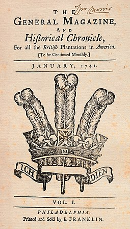 Franklin's The General Magazine and Historical Chronicle (Jan. 1741) The General Magazine and Historical Chronicle Vol 1, January, 1741.jpg